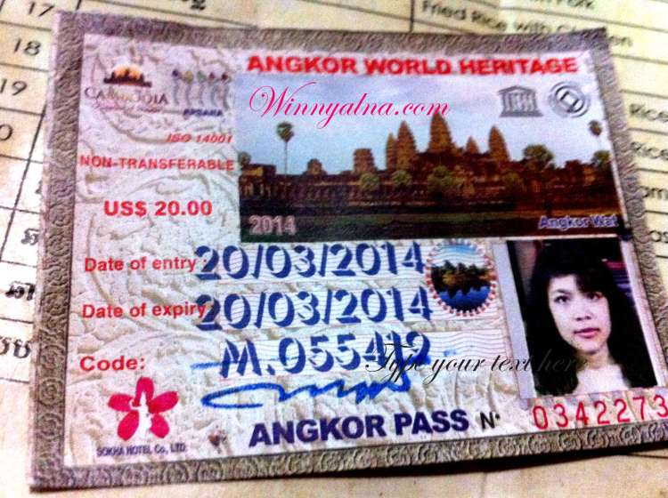 ticket entrance angkor