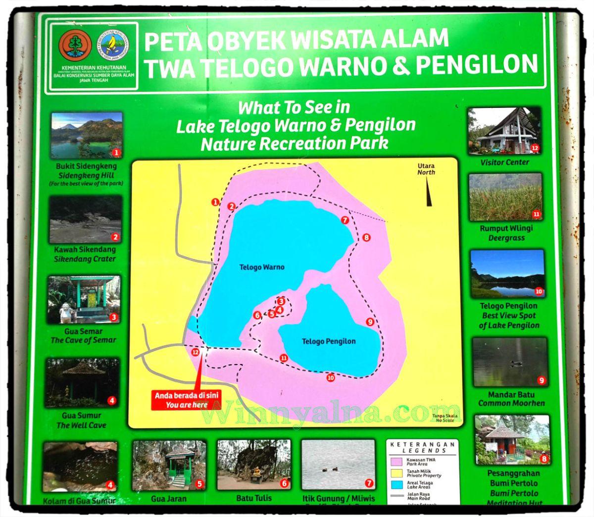 Peta objek wisata alam Telaga Warna Dieng