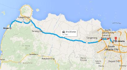 Rute dari Jakarta ke Anyer