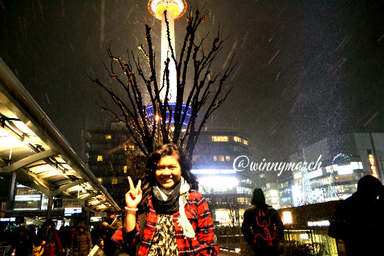 my first snow in kyoto tower