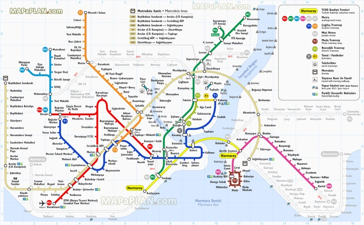 Istanbul top tourist attractions printable map